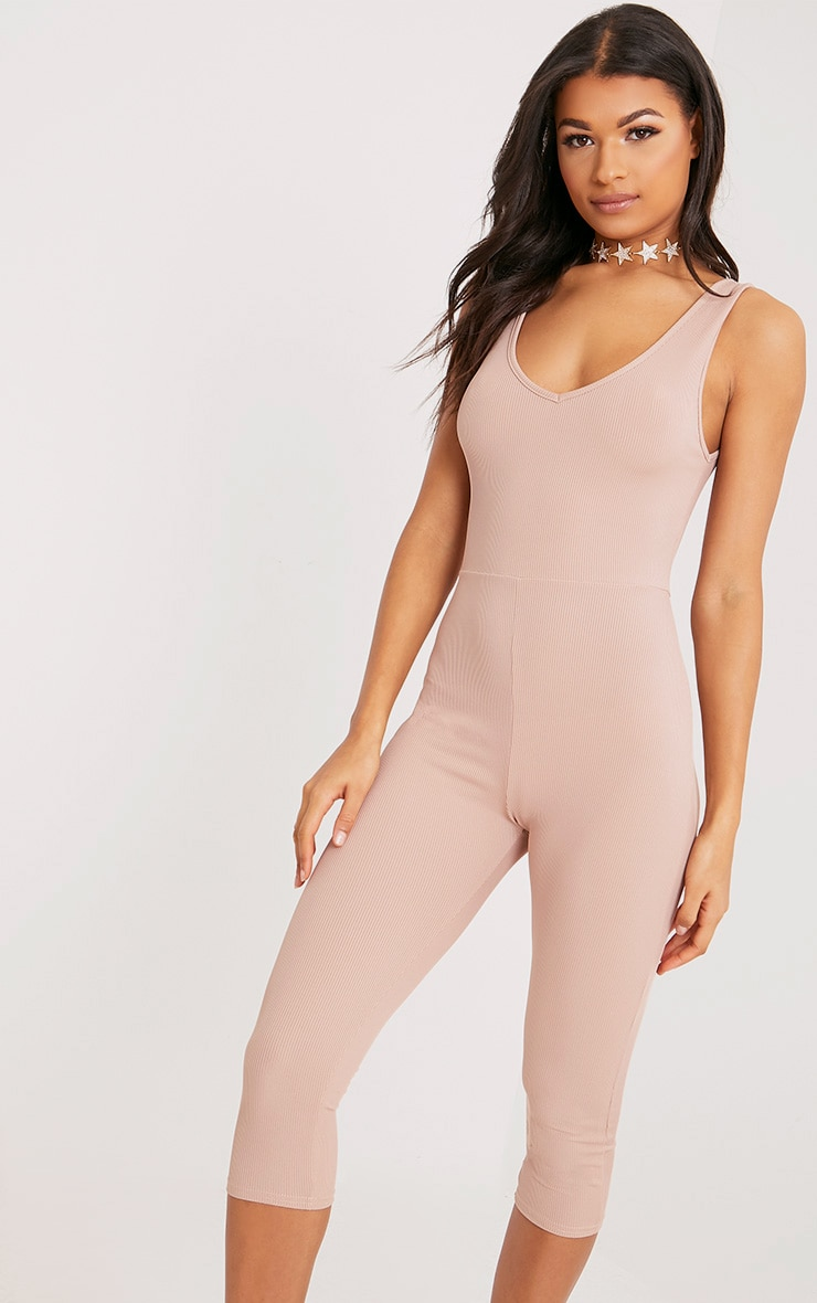 Luciana Nude Ribbed V Neck Unitard 4