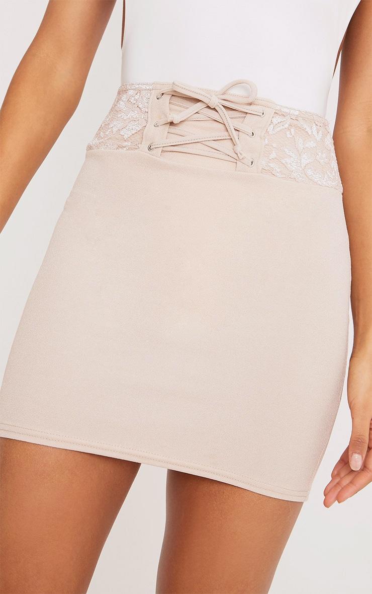 Zayla Nude Lace Detail Corset Mini Skirt 6