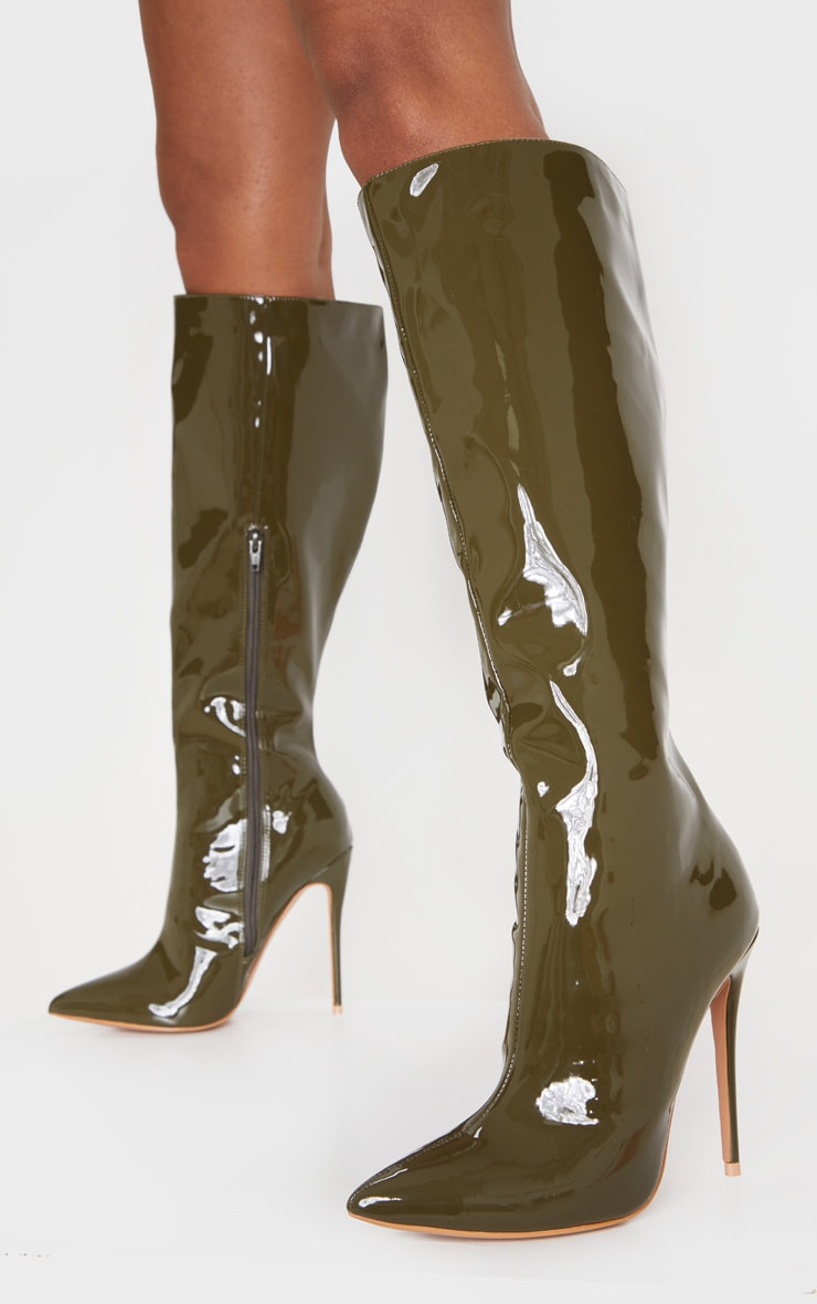 Khaki Point Toe Stiletto Knee High Boot 2
