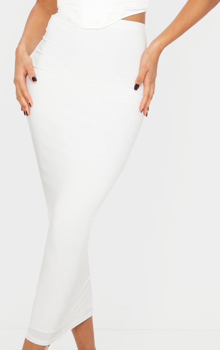 White Second Skin Slinky Midaxi Skirt 4