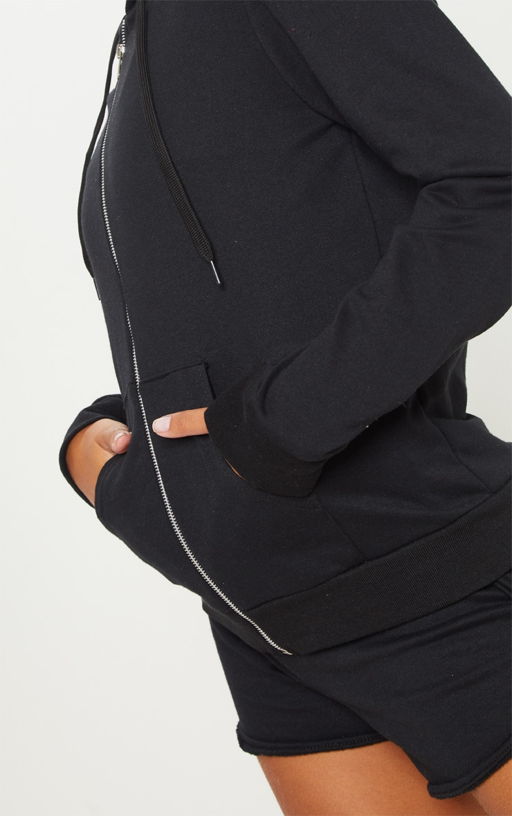 Black Basic Gym Sweat Zip Hoodie 5