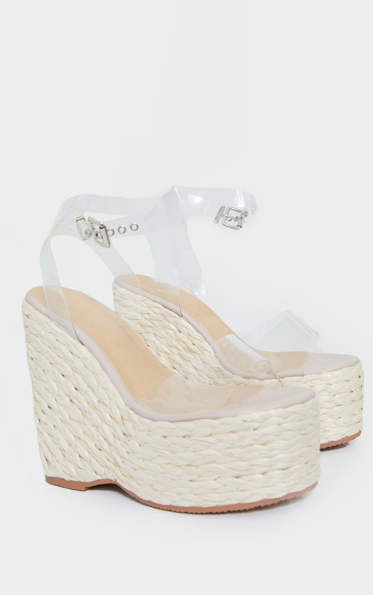 Clear Raffia Chunky Rope Ankle Strap Wedges 3