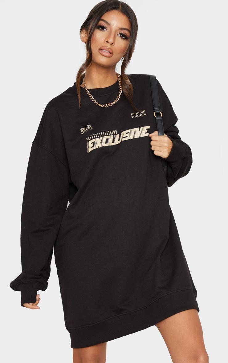 PRETTYLITTLETHING Black Exclusive Slogan Sweater Dress 4