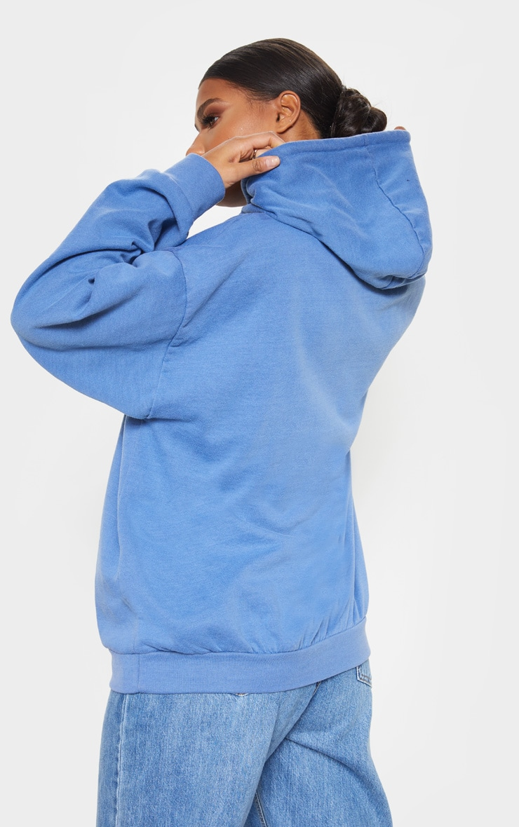 Washed Blue Error Slogan Oversized Hoodie 2