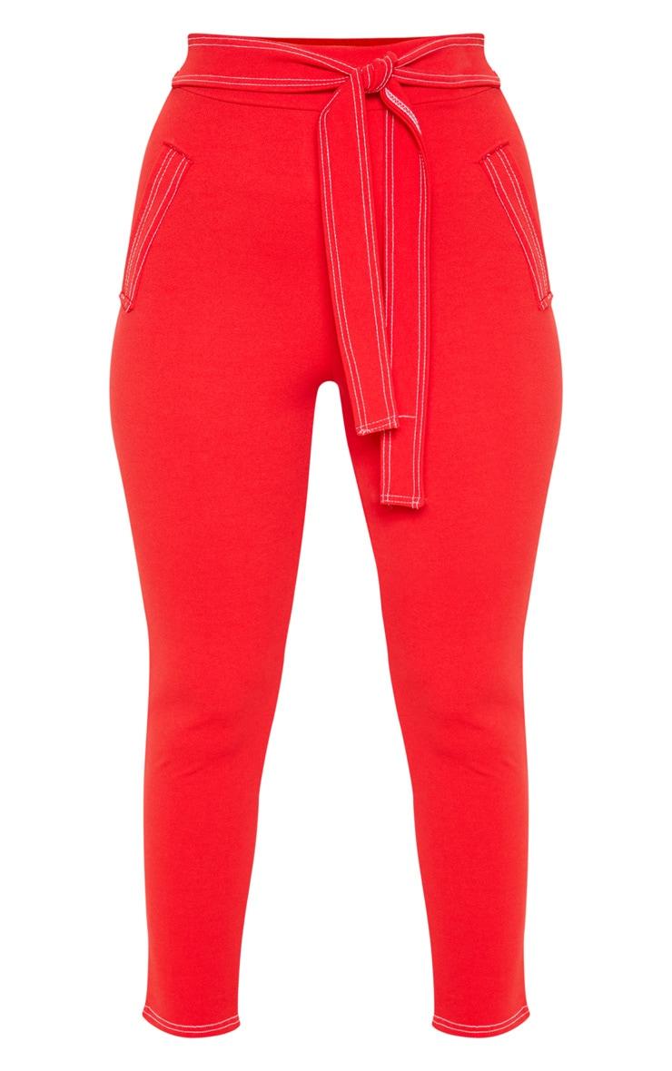 Red Contrast Stitch Tie Waist Skinny Trouser 3
