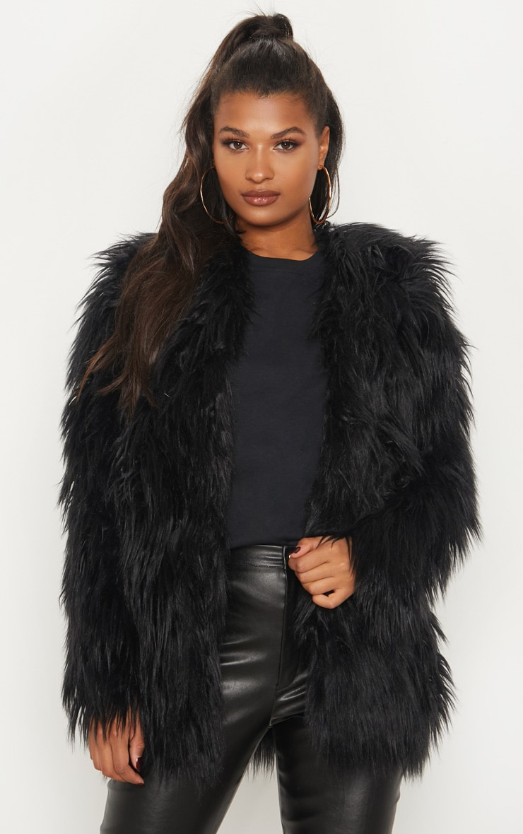 e38dc278e10 Amaria Black Shaggy Faux Fur Jacket image 1