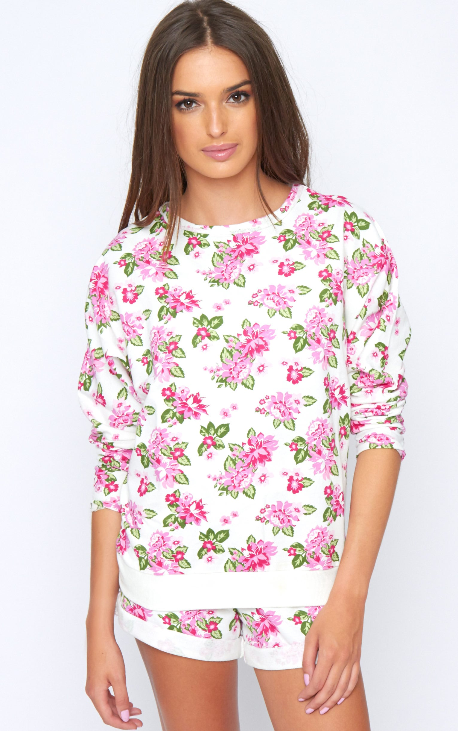Aria White Floral Sweater  3