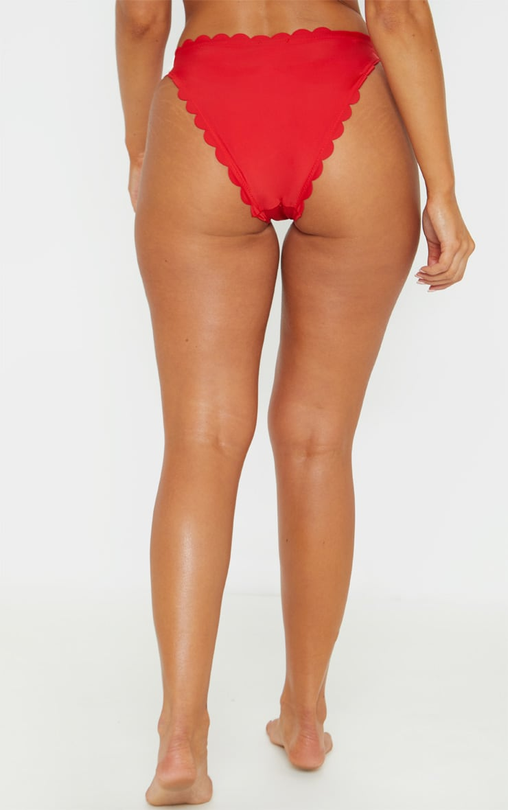 Red Scallop Cheeky Bikini Bottom 4