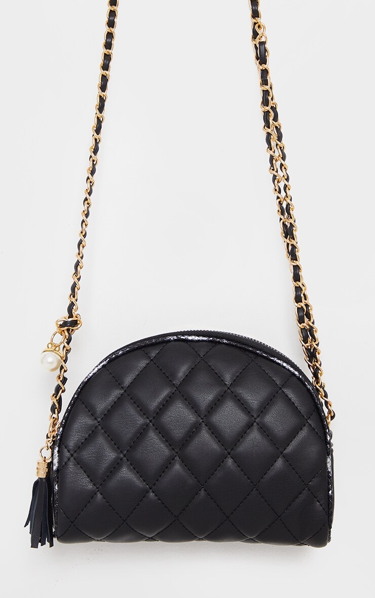 Black With Gold Chain Cross Body Bag 2
