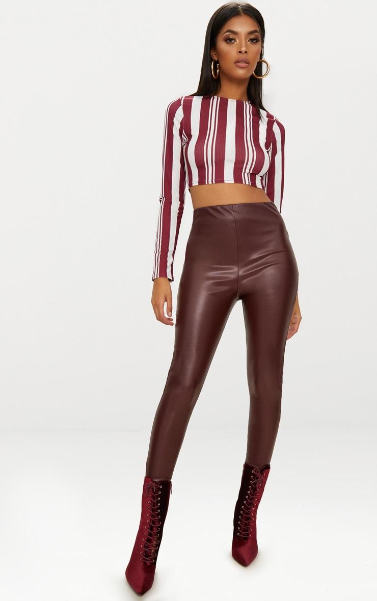 Burgundy Rib Stripe Long Sleeve Crop Top 4