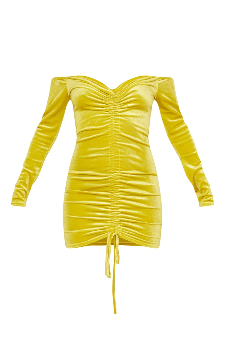 Chartreuse Velvet Bardot Long Sleeve Ruched Bodycon Dress 3