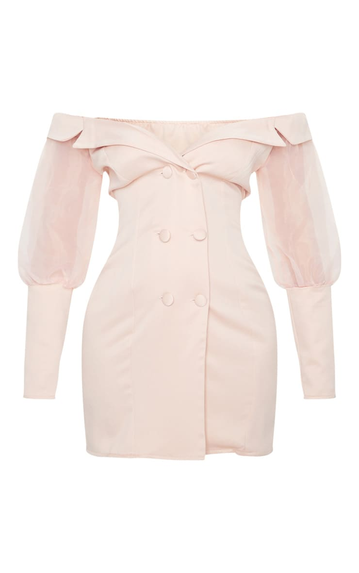 Blush Organza Bardot Sleeve Button Down Blazer Dress 5