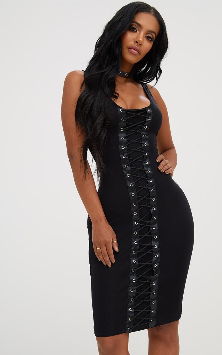 Shape Black Lace Up Front Bodycon Dress 4