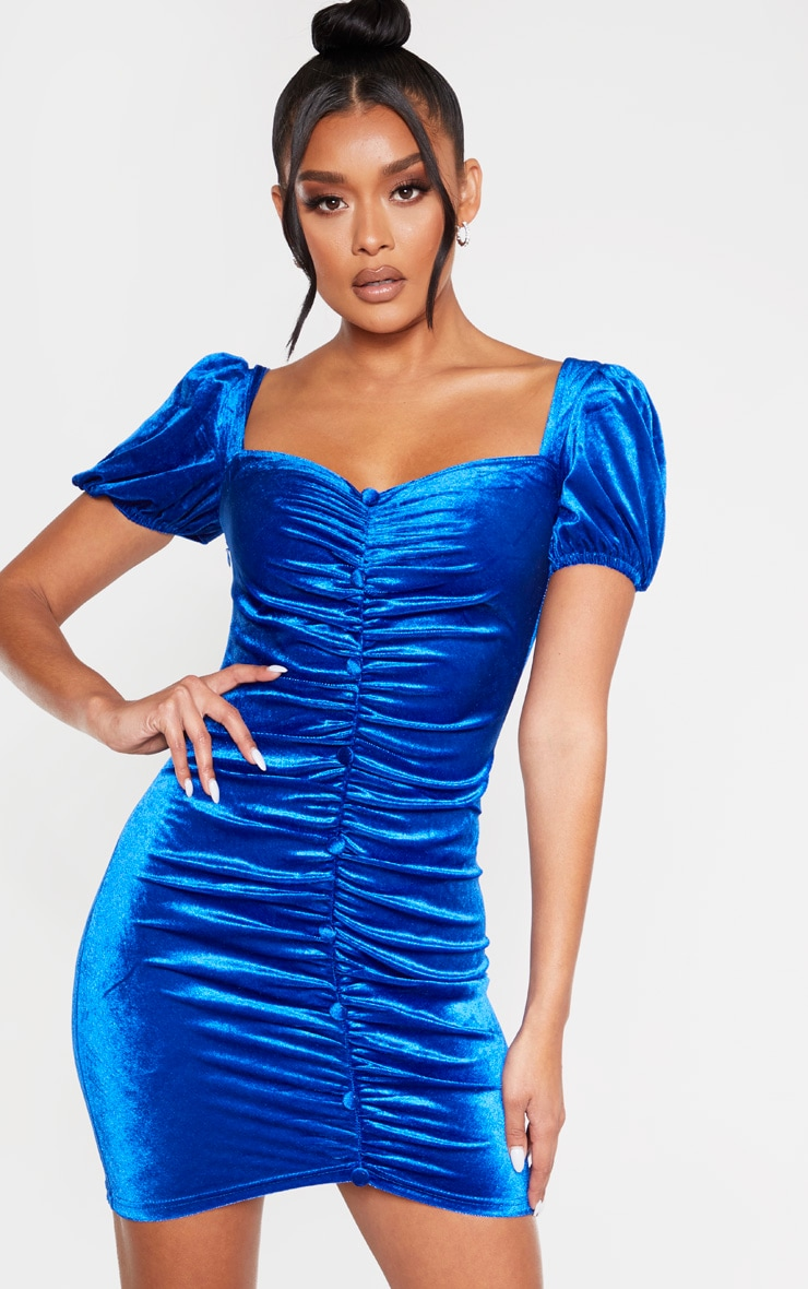 Cobalt Velvet Ruched Button Detail Bodycon Dress 1