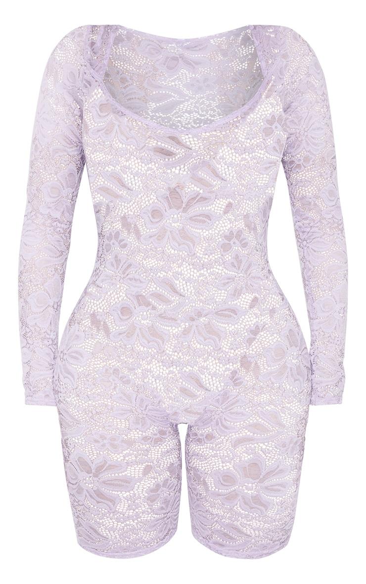 Shape Lilac Lace V Neck Unitard 3