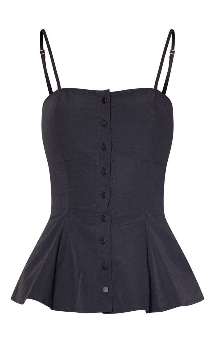 Black Woven Button Up Strappy Peplum Cami  3