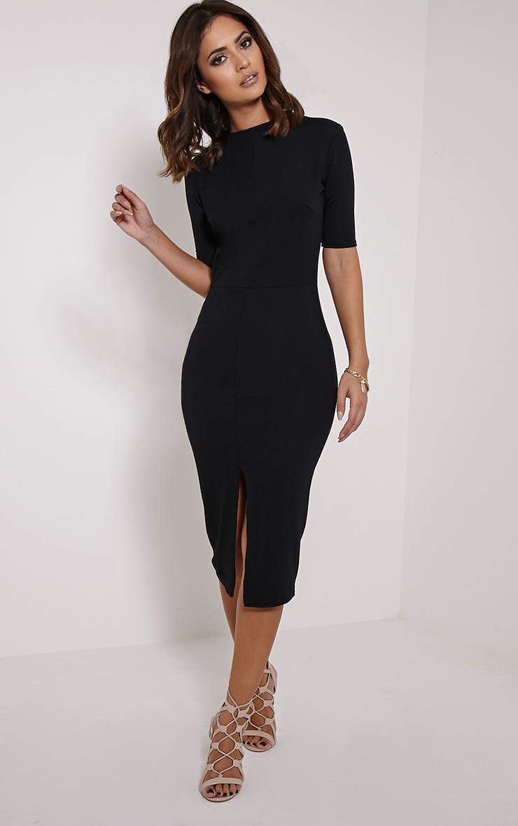 Sana Black Crepe Split Front Midi Dress 1