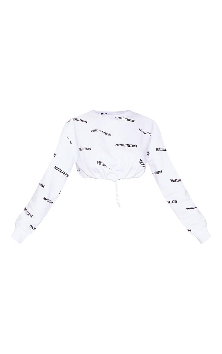PRETTYLITTLETHING White Printed Oversized Crop Sweatshirt 5