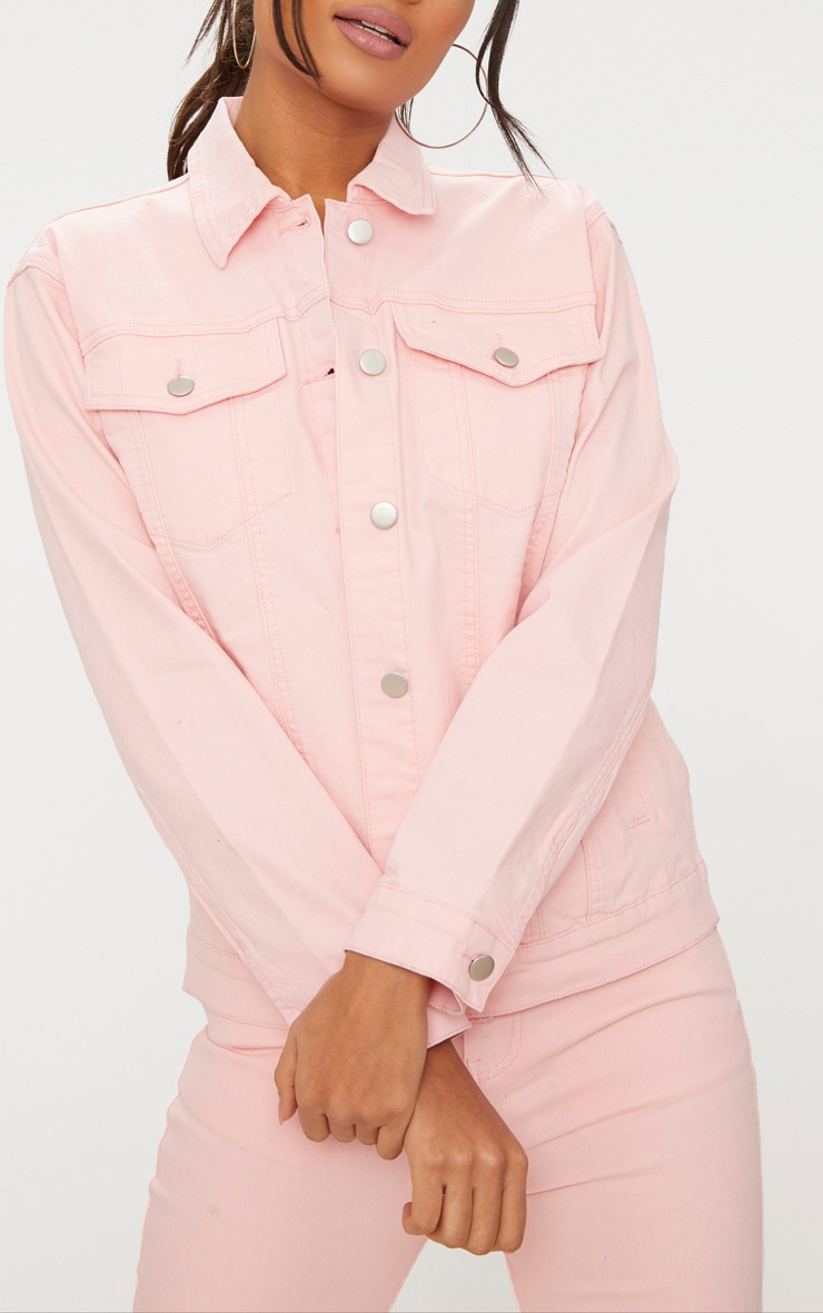 Baby Pink Boyfriend Fit Denim Jacket 5