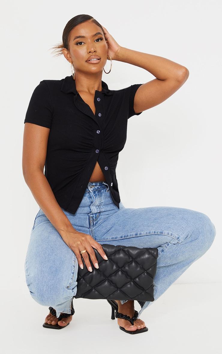 Black Soft Rib Ruched Short Sleeve Shirt 3