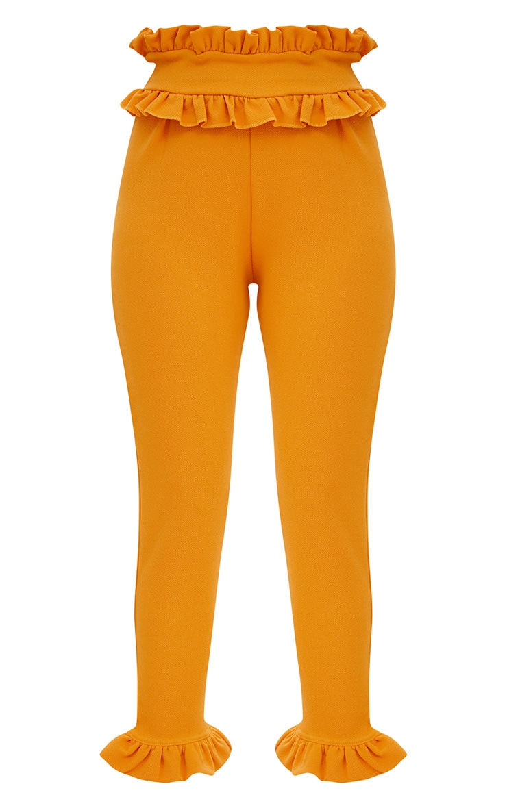 Mustard Frill Trim Trousers 3