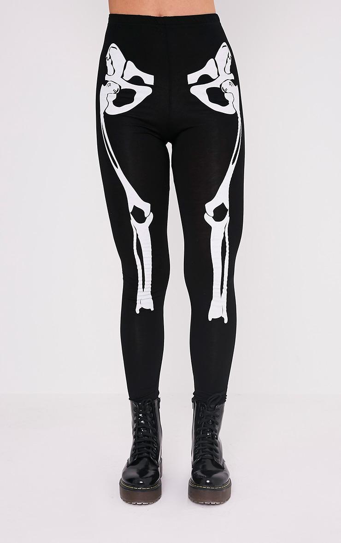 Skeleton Black Print Leggings 2