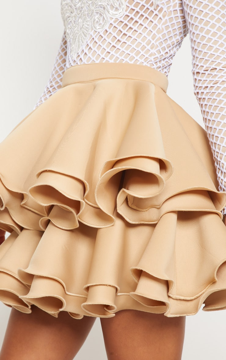 Nude Applique Detail Ruffle Tiered Skater Dress  5