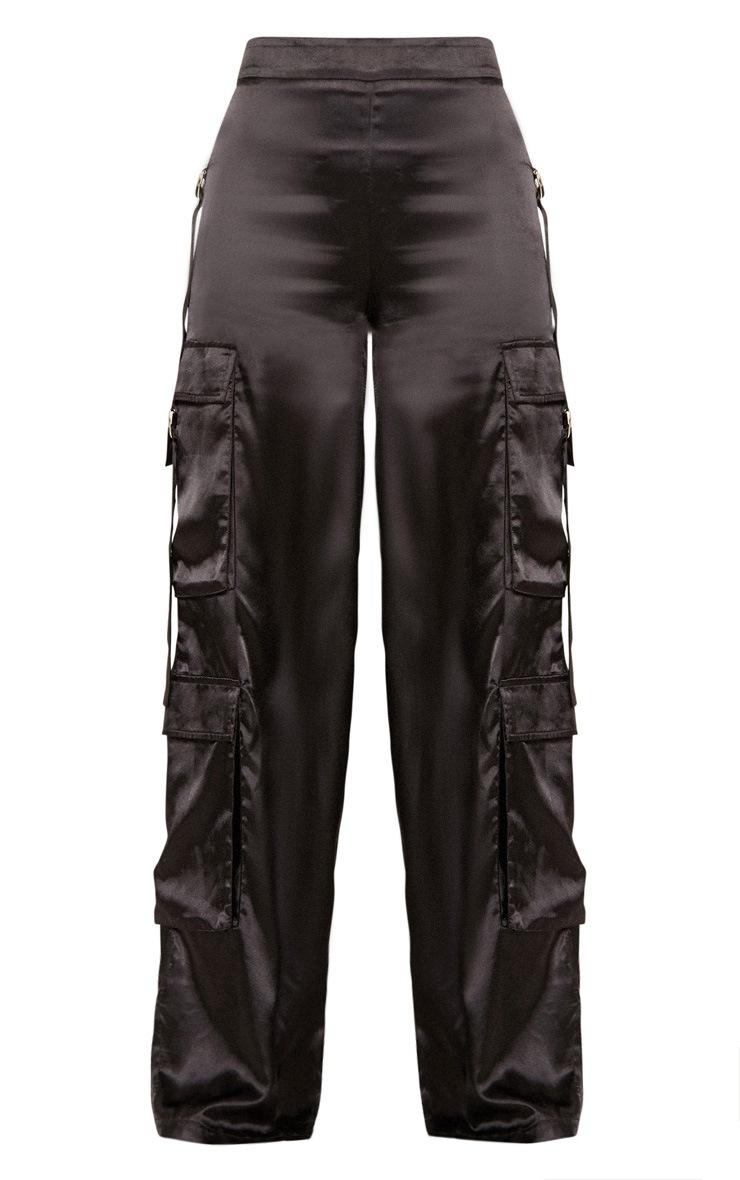 Black Satin D Ring Cargo Wide Leg Trouser 4