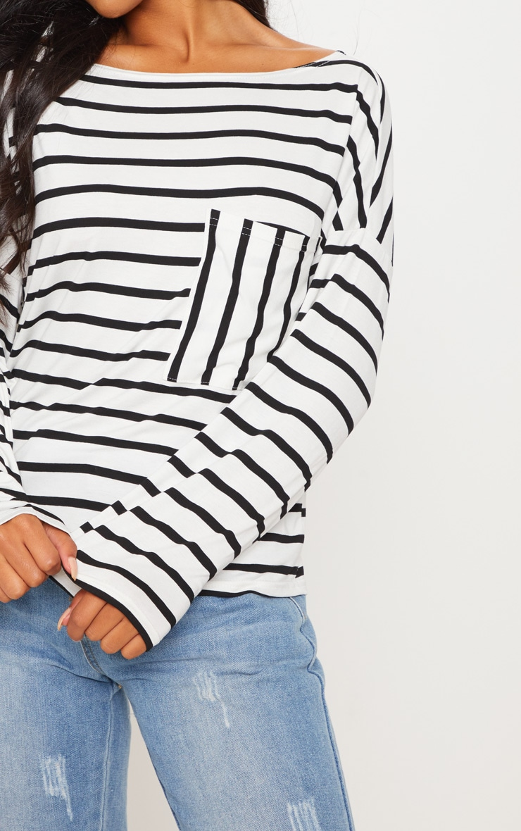 Monochrome Stripe Pocket Detail Long Sleeve Top 5