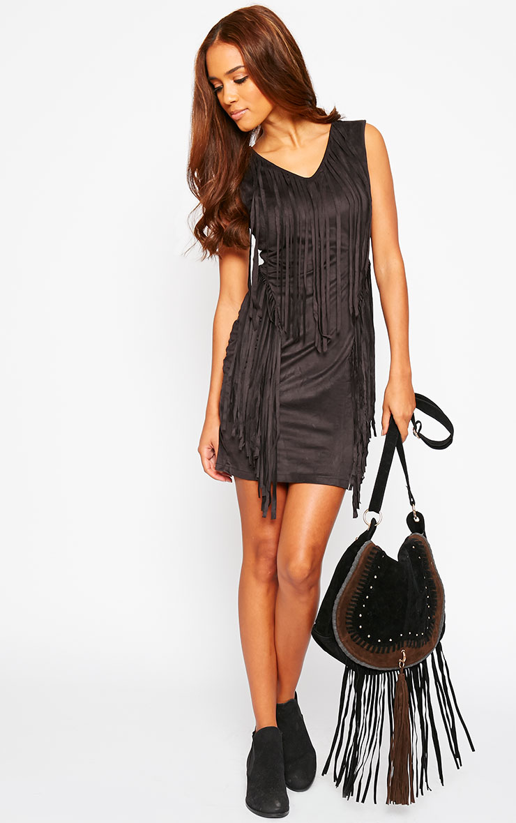 Nylah Black Suedette Tassel Dress 5