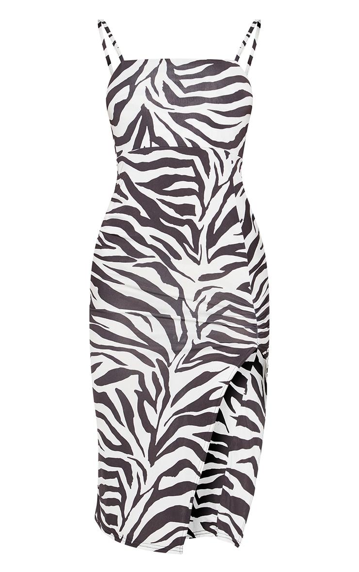 Monochrome Zebra Print Slinky Split Leg Midi Dress 3