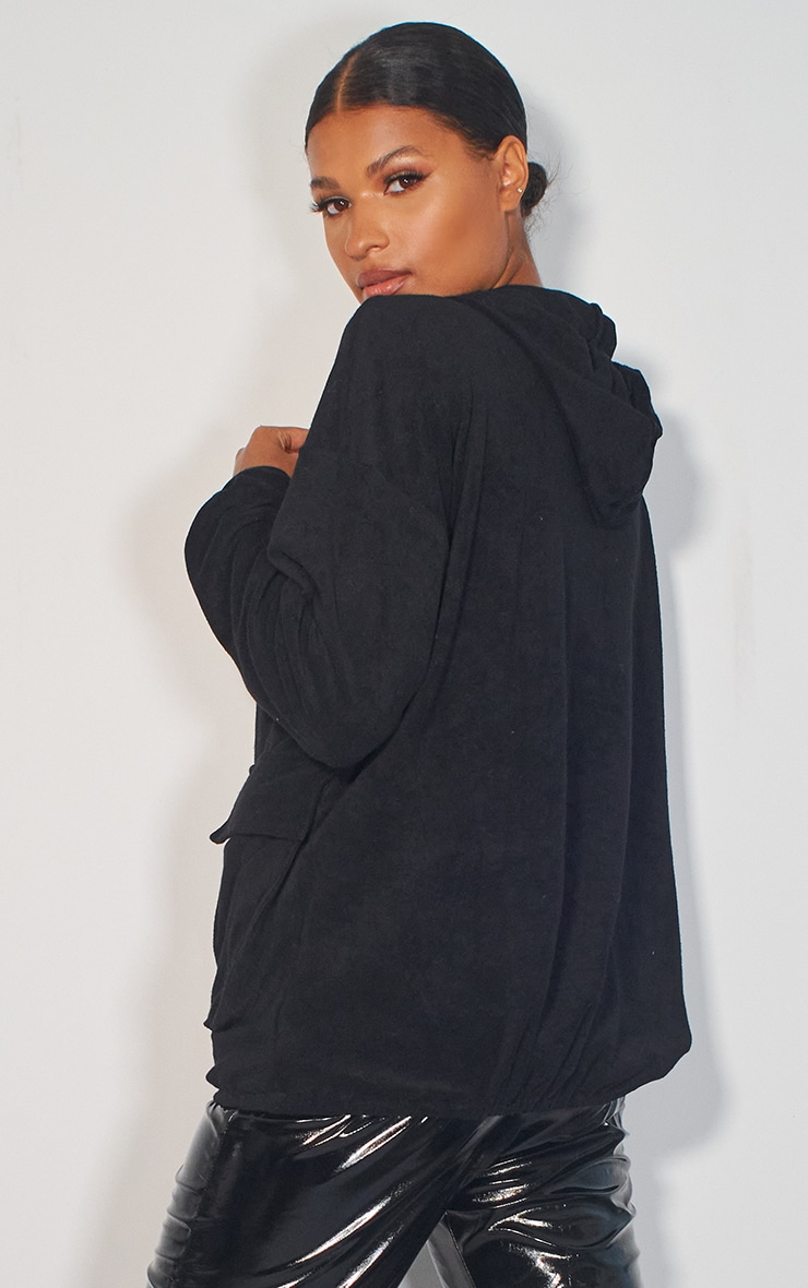 Black Towelling Oversized Pocket Sweatshirt 2