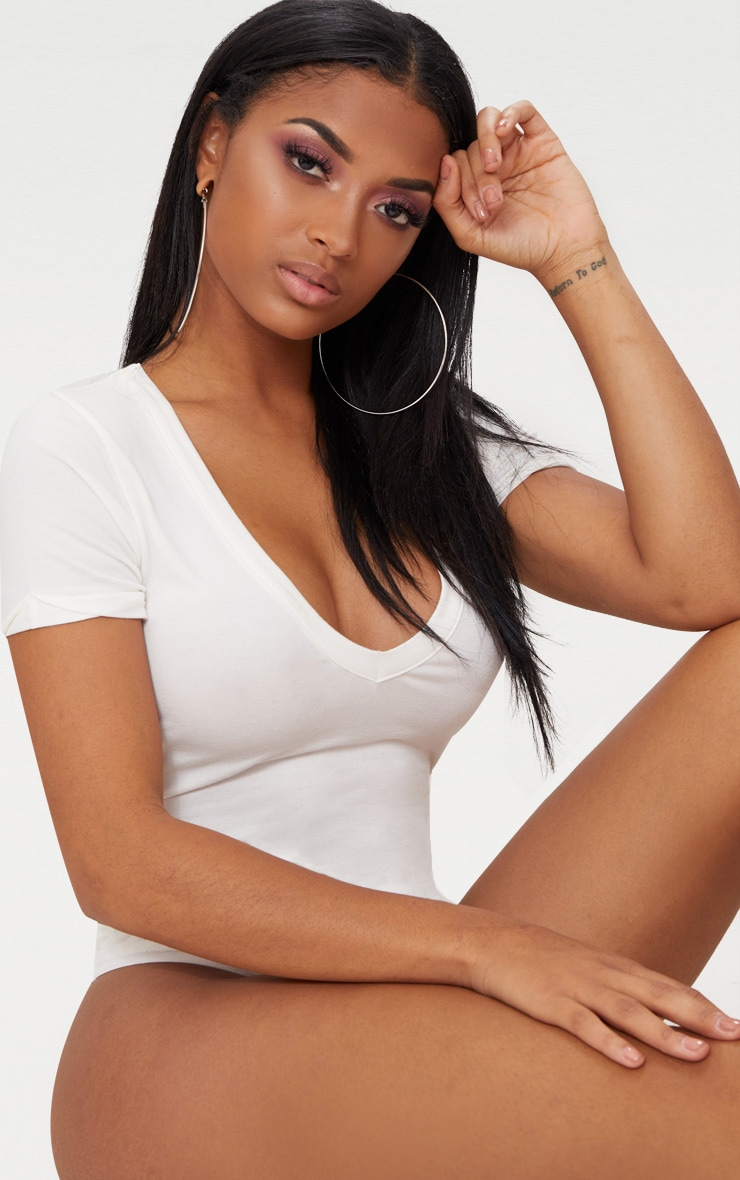 Shape White Jersey V Neck Bodysuit 6