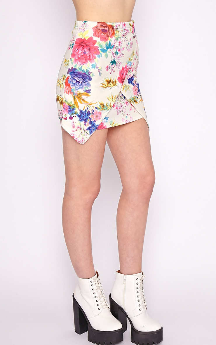 Effie Pink Floral Asymmetric Skirt 3
