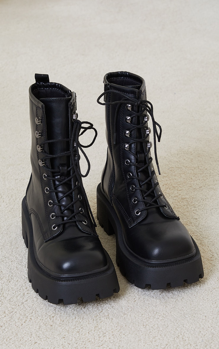 Black Chunky Lace Up Hiker Biker Boots 4