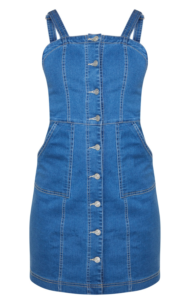 Mid Wash Button Through Midi Denim Dress 3