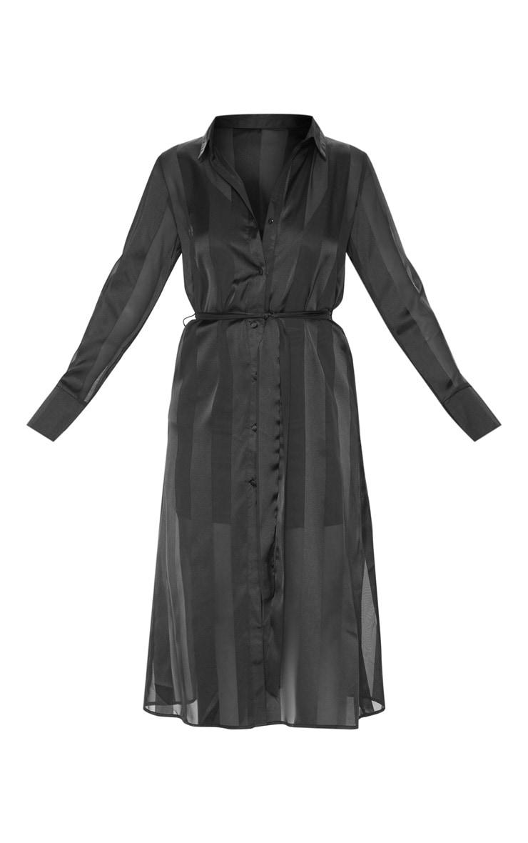Black Satin Midi Shirt Dress 3