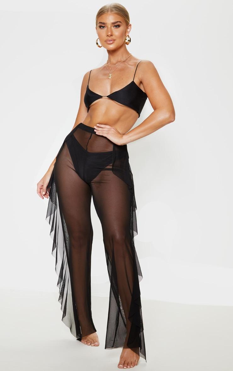 Pantalon de plage noir en mesh volanté  1