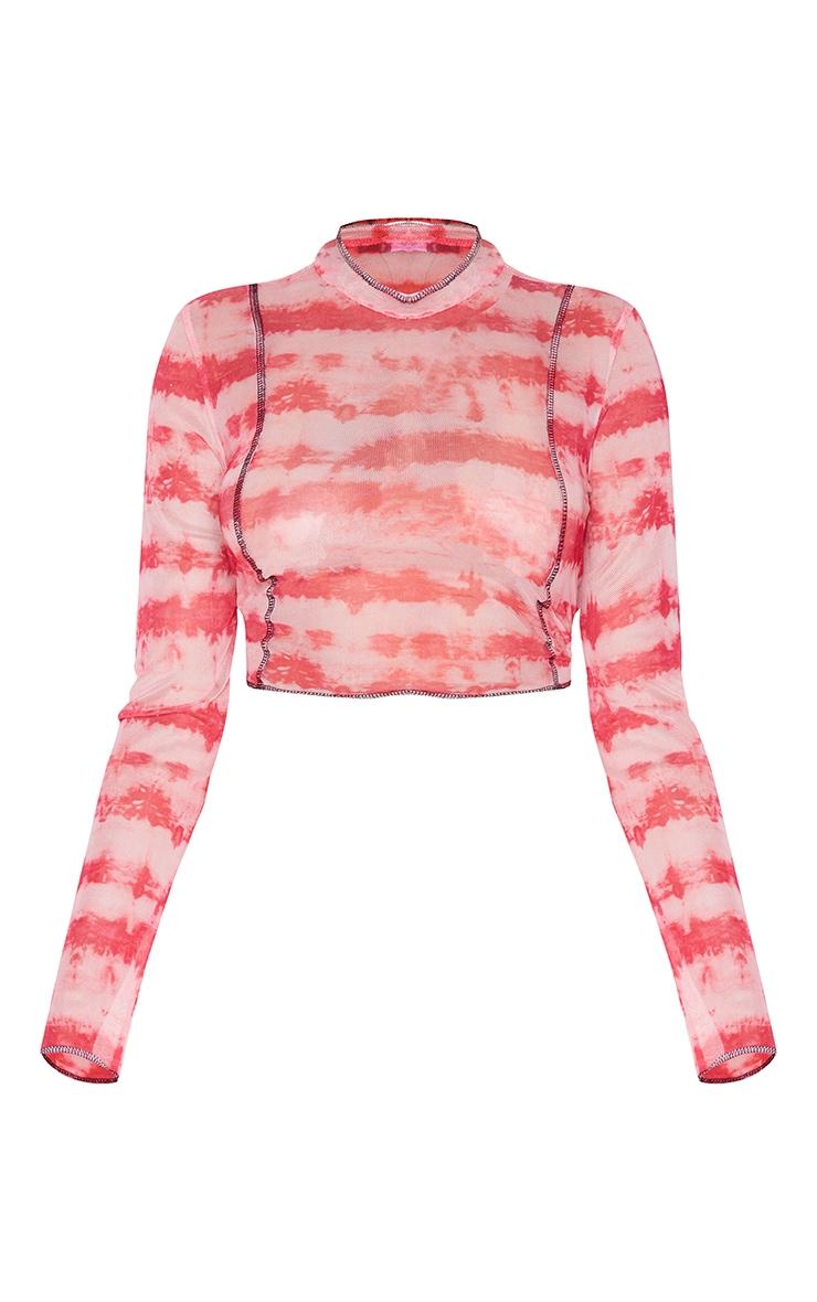 Pink Contrast Seam Tie Dye Print Mesh Long Sleeve Top 5
