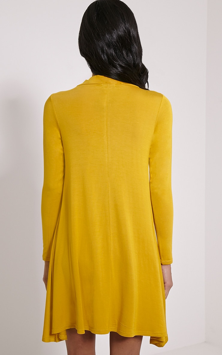 Basic Mustard Long Sleeved Jersey Swing Dress 2