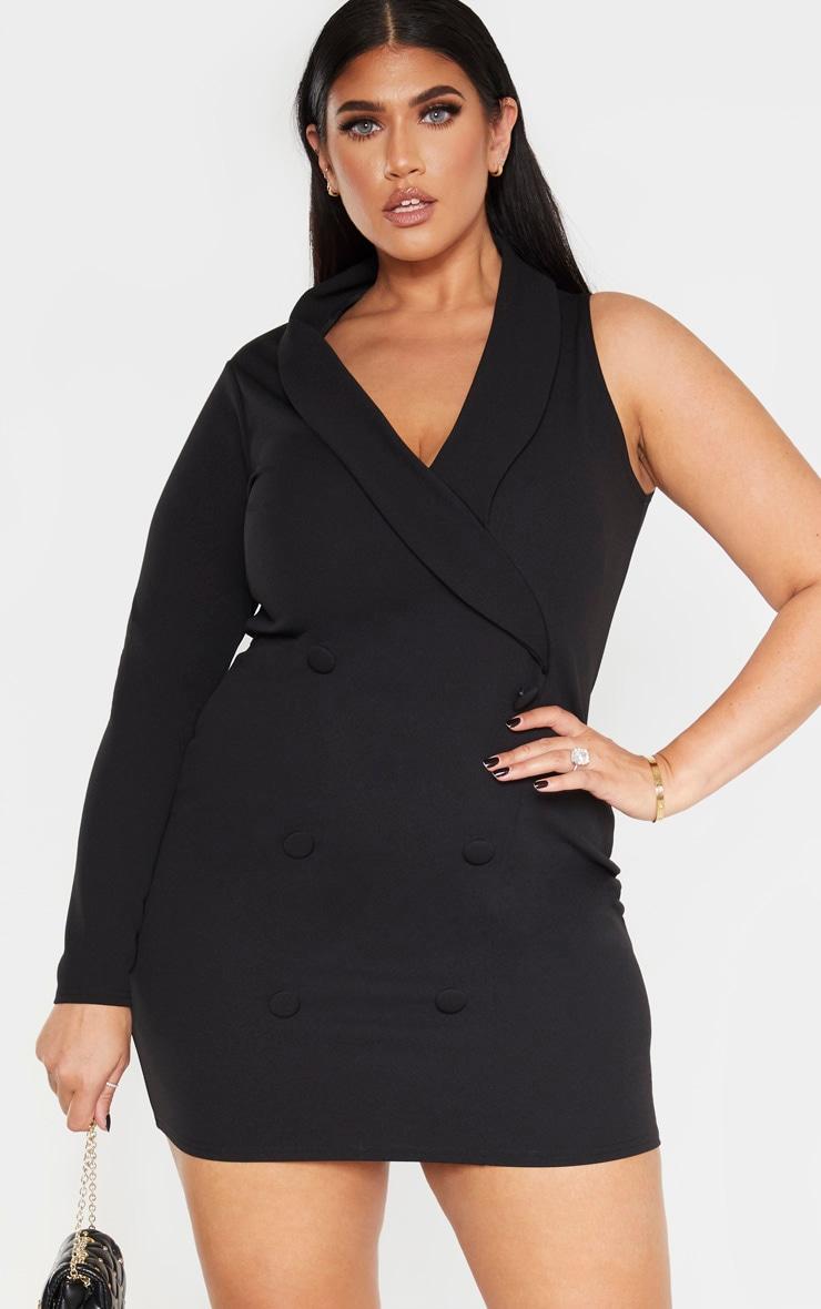 Plus Black One Sleeve Blazer Dress 1