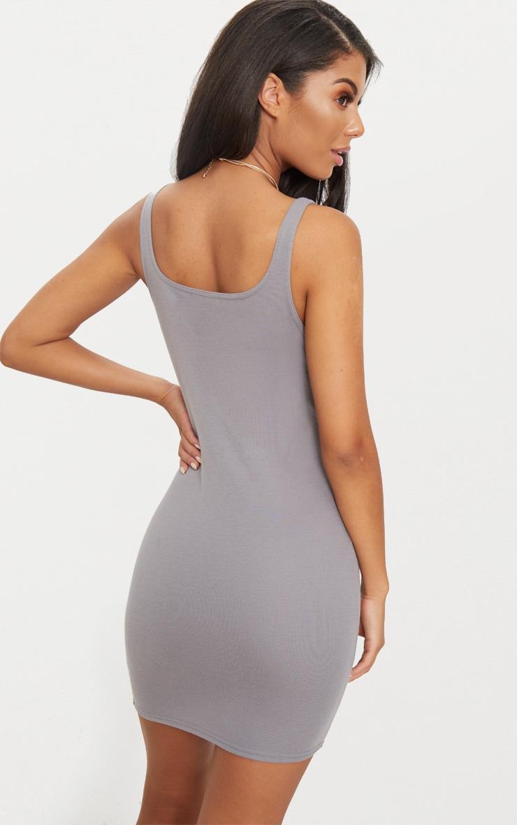 Charcoal Grey Scoop Neck Bodycon Dress 2