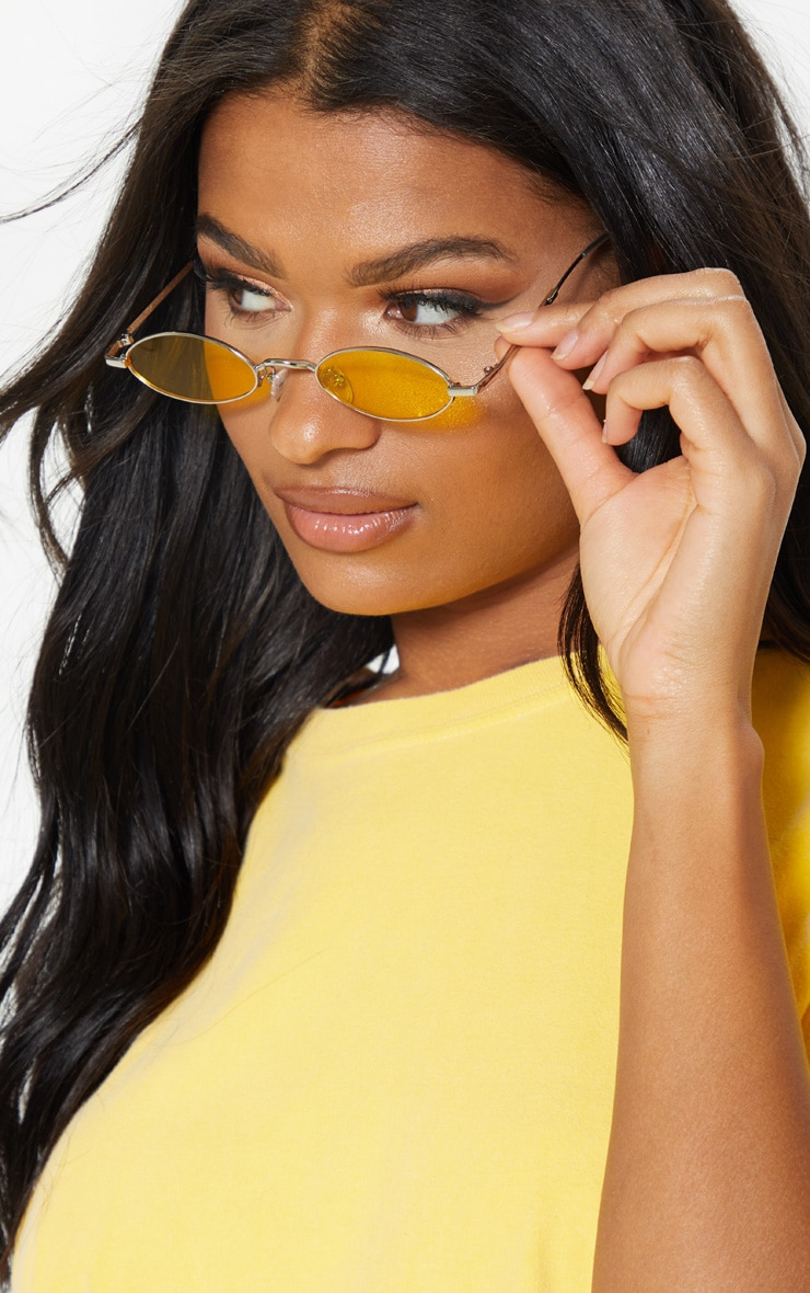 Yellow  Slim Metal Frame Oval Sunglasses 1