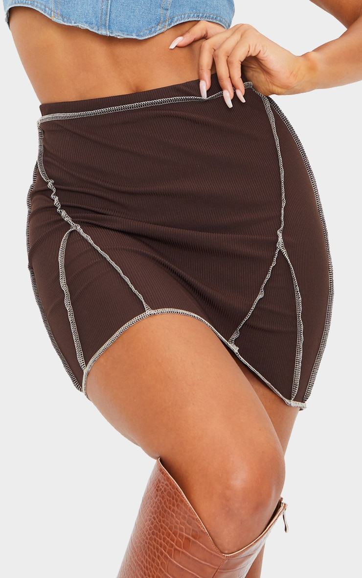 Chocolate Rib Contrast Seam Mini Skirt 5