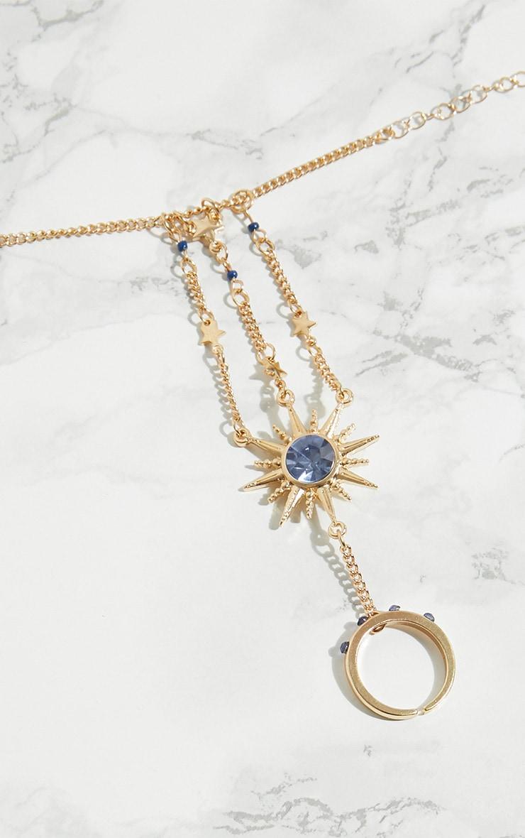 Gold Sun Blue Gem Hand Chain 3
