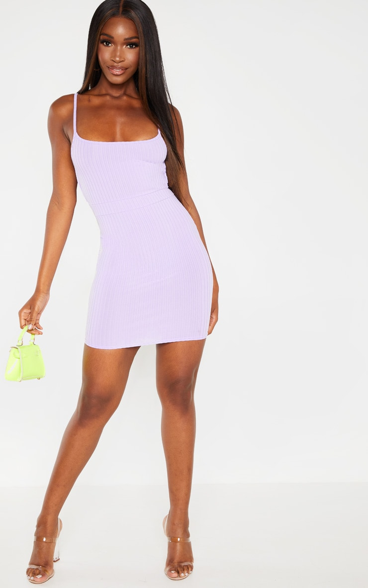Lilac Ribbed Strappy Back Bodycon Dress 4