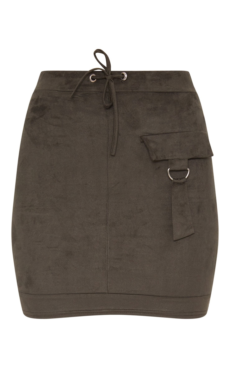 Khaki Faux Suede Military Pocket Detail Skirt 3