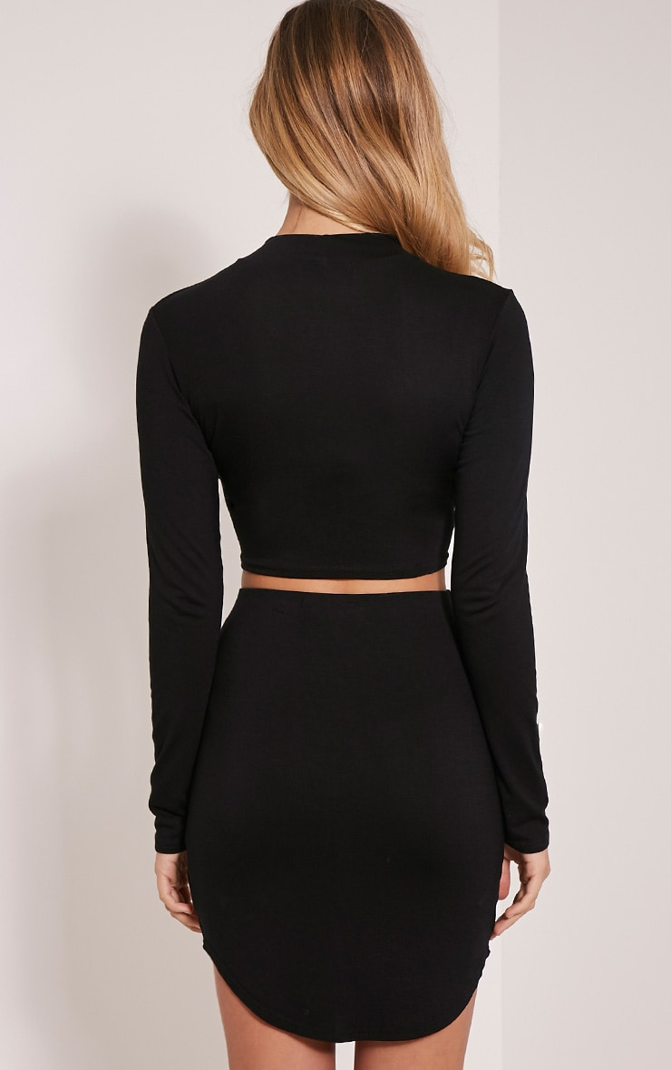 Ariana Black Long Sleeve Crop Top 2