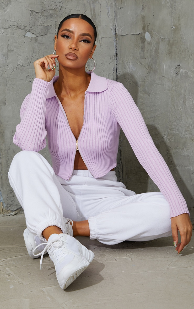 Lilac Double Zipped Knitted Crop Top 1