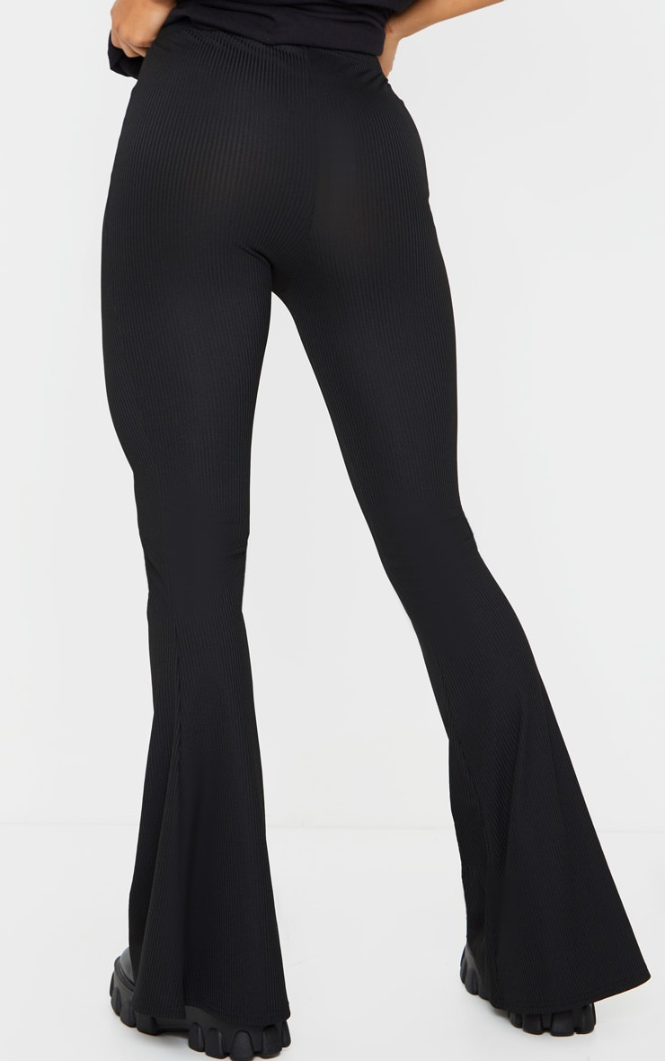 Black Ribbed Tie Detail Flare Leg Pants 3